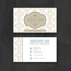 Vintage floral business card template for personal or professional use with front and back side.