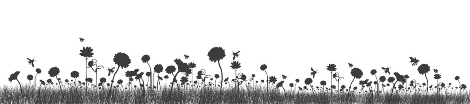 Blumenwiese mit Bienen   Banner