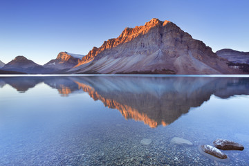 Bow Lake along the Icefields Parkway in Canada at sunrise