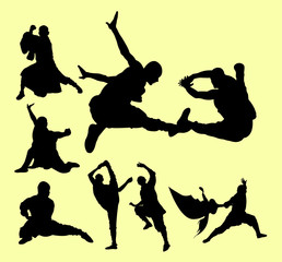 Shaolin in action pose. Martial art extreme sport silhouette.