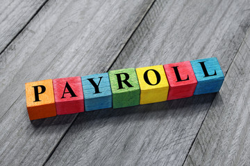 payroll text on colorful wooden cubes