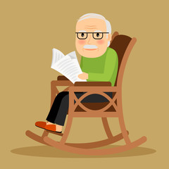Old man sitting in rocking chair and newspaper