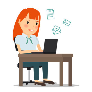 Woman with laptop computer sending email