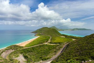 view of the island St.Kitts. Atlantic ocean on the one side, the