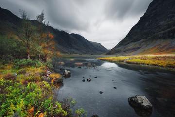 River and mountain landscape, Ballachulish, Glencoe, Scotland, UK