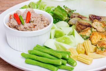 Fried mackerel with shrimp paste sauce with boiled vegetables(Nam phrik PLA TU),Thai food