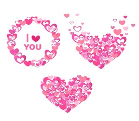 Greeting with abstract pink hearts