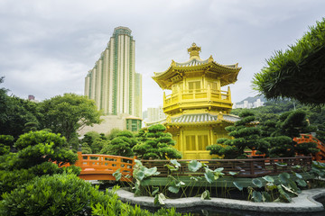 The Golden Pavilion of Perfection in Nan Lian Garden, landscaped