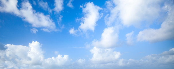Natural blue cloudy sky. Panoramic background