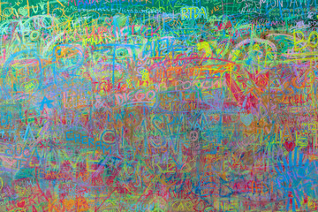 Colorful abstract boards   with the spontaneous creation of people