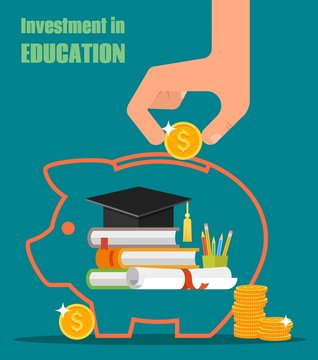 Invest in education vector concept. Stack of books, diploma and university student cap. Money savings or loan for study