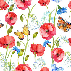 seamless pattern, Wallpaper, scrapbook,flowers,watercolor poppies