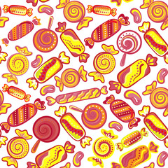 Cute seamless pattern with colorful sweets. Seamless different sweets pattern. Assorted candies background.