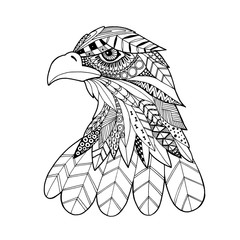 Ornamental head of eagle bird, trendy ethnic zentangle style illustration, hand drawn vector