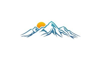 mountain adventure sunrise vector logo