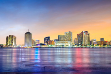 Downtown New Orleans, Louisiana and the Mississippi River Fotomurales