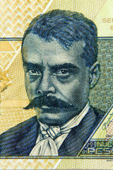 emiliano zapata engraving portrait on mexican banknote