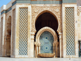 The Hassan II mosque in Casablanca, fountain with tiles