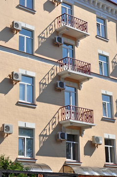 Kiev, a fragment of the building with balconies