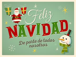 """Vintage Style Christmas Card in Spanish. """"Feliz Navidad de parte de todos nosotros"""" means """"Merry Christmas From All of us"""". Editable EPS10."""