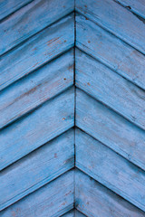 wooden plank herringbone. old blue wood plank in a herringbone pattern