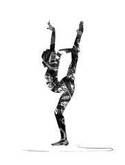 silhouette of acrobat dancer