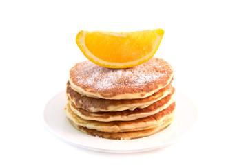 Pancakes with orange isolated on white background