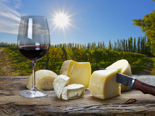 red wine and cheese on the table outdoors