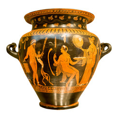 Ancient greek vase with red figures on a black background