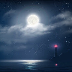 Vector illustration of night cloudy sky with stars, moon and sea with lighthouse