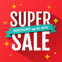 Super Sale inscription, design template. Super Sale banner. Sale poster. Super Sale discount up to 50%. Vector illustration