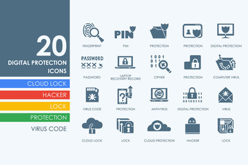 Set of digital protection icons