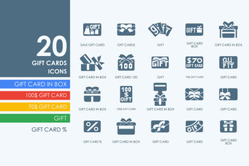 Set of gift cards icons