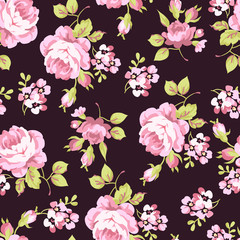 Pattern with yellow and pink roses