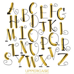 Black gold chalk pencil alphabet uppercase letters.Hand drawn wr