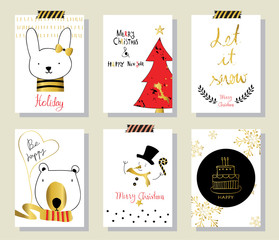 Light black red gold love christmas greeting card with rabbit an