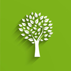 Tree Logo in green and white