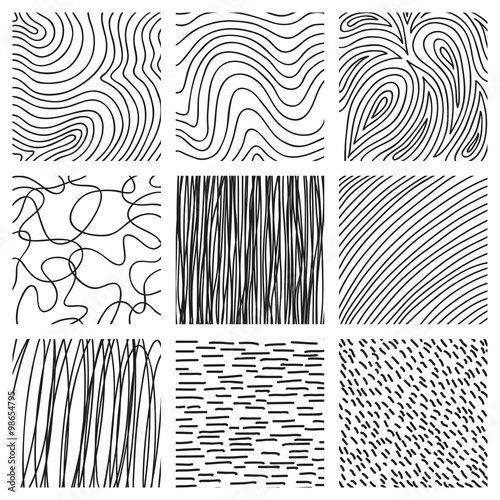set of ink hand drawn hatch texture collection of vector ink lines