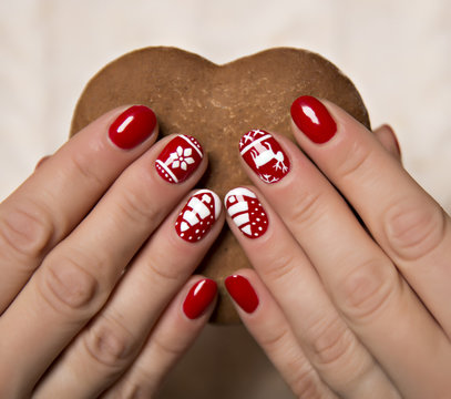 beautiful woman's hands with winter manicure