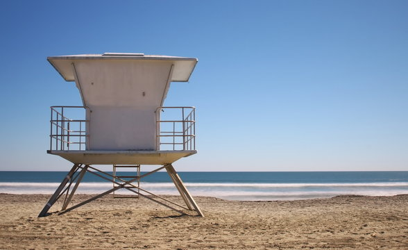 Life Guard Tower - Classic California life guard station on a bright blue day