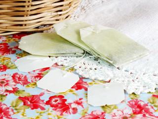 tea bag on tablecloth background