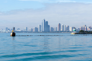Color DSLR image of the city of Chicago, Illinois, as seen from Navy Pier; horizontal with copy space for text