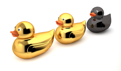 Golden duck - Rubber duck - ugly duckling (High resolution Three Dimensional render)