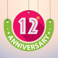 12th Anniversary - Colorful Badge, Paper cut-out