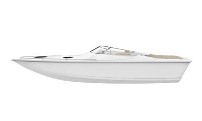 White Speedboat Isolated
