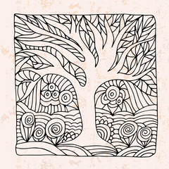 Zentangle with tree and flowers