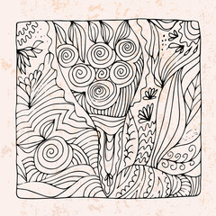 Zentangle with bouquet of flowers and apple