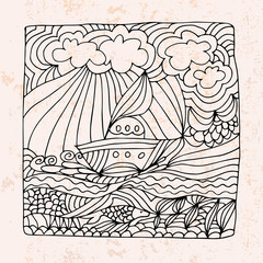 Zentangle with boat, sea and clouds
