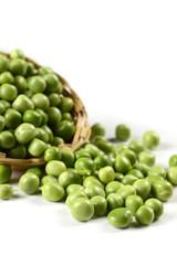 Fresh Green Peas in basket on white background