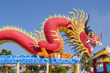 Large Chinese dragon in a public park.